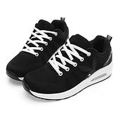 PLAYBOY 舒適簡約 針織綁帶氣墊休閒鞋-黑白(Y5777)