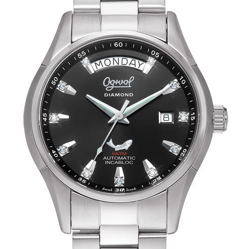 Ogival 瑞士愛其華 傳世經典真鑽機械錶-黑/40mm