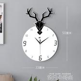 鹿頭掛鐘歐式現代家用個性北歐創意客廳簡約鐘錶時尚大氣裝飾時鐘QM 依凡卡時尚