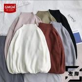 大碼毛衣男秋冬素色針織衫半高領線衣【左岸男裝】