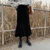 半身裙洋裝秋冬網紅裙子女新款潮復古百搭半身裙高腰中長款金絲絨魚尾裙 易家樂