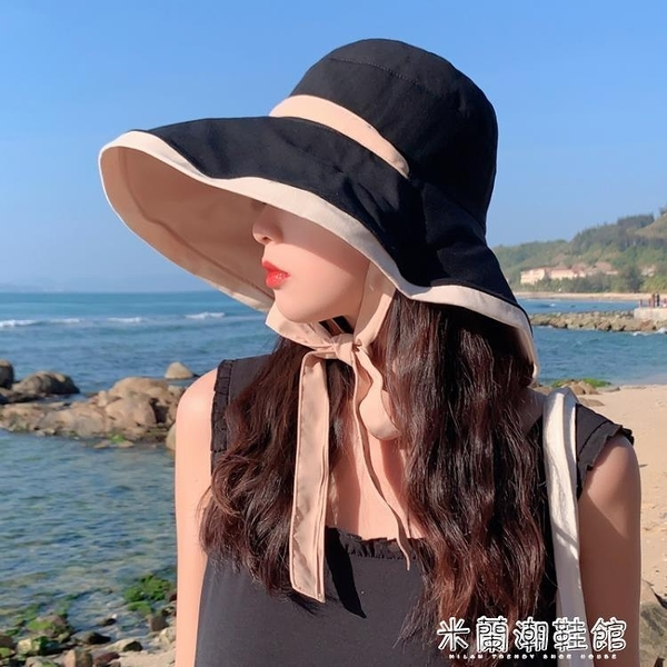 遮陽帽 漁夫帽女夏遮臉防紫外線遮陽帽大帽檐適合圓臉雙面大沿防曬太陽帽 快速出貨