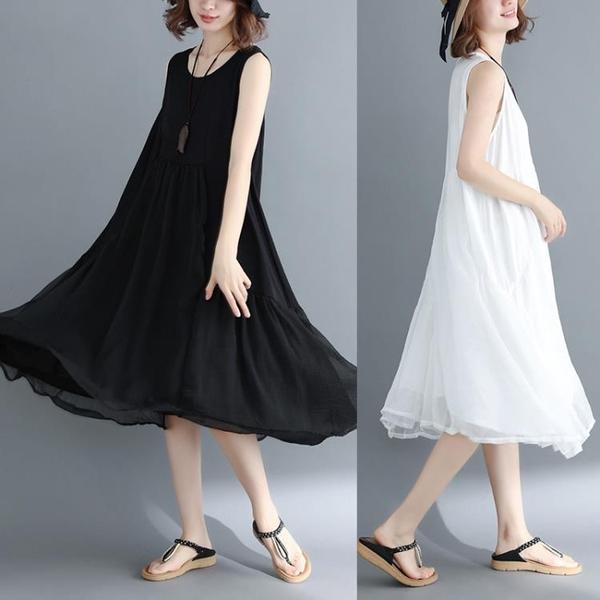 中大尺碼 無袖洋裝 2021夏季網紗拼接無袖連身裙胖mm藏肉顯瘦文藝寬鬆大碼女裝中長裙