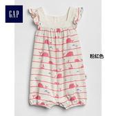 Gap女嬰兒 鯨魚圖案柔軟短袖一件式包屁衣 336732-粉紅色