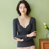 保暖內衣衛生衣薄款加絨發熱帶胸墊冬季低領打底衫女士衛生衣緊身【快速出貨】