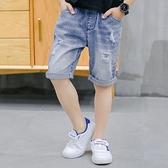 男童牛仔短褲 夏天新款男童牛仔短褲中大童薄款中褲破洞兒童五分褲外穿寬鬆-Ballet朵朵