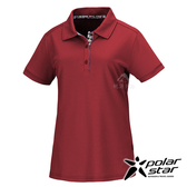 PolarStar 女 麻花吸排短袖POLO衫『暗紅』P20154 排汗衣 排汗衫 吸濕快乾 露營.戶外.吸濕.排汗