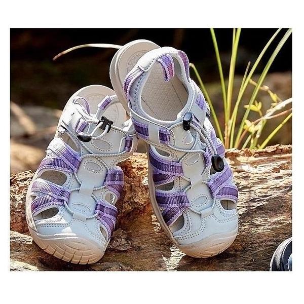 【南紡購物中心】【ATUNAS 歐都納】女款勇闖水陸減震護趾涼鞋(A1GCCC01藍紫)