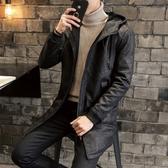 夾克外套-連帽中長版暗花紋個性皮革夾棉男外套2色73qa34【時尚巴黎】