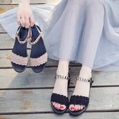 一字扣涼鞋女學生百搭韓版女士厚底中跟簡約羅馬涼鞋子   蜜拉貝爾