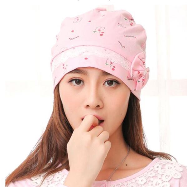 母嬰同室 純棉蕾絲造型月子帽 柔棉 春夏月子帽 孕媽咪保暖帽 【DC0011】