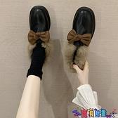皮鞋 一腳蹬豆豆毛毛鞋女冬加絨外穿2021新款秋季小皮鞋英倫風韓版百搭 寶貝 免運
