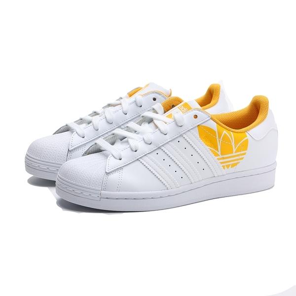 ADIDAS 休閒鞋 ORIGINALS SUPERSTAR 白黃 皮革 鋼印LOGO 復古 板鞋 女 (布魯克林) FY2825
