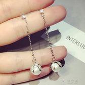 日韓新款簡約時尚長款人工鋯石珍珠吊墜耳環個性優雅百搭氣質耳飾    俏女孩
