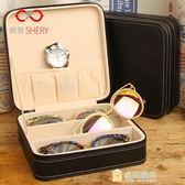 一件85折-眼鏡收納盒多格透明墨鏡太陽鏡眼睛盒時尚皮質手錶首飾眼鏡展示盒