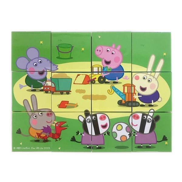 粉紅豬小妹拼圖 彩色六面拼圖 12塊裝 PG001 /一盒入(促220) 正版授權 Peppa Pig 佩佩豬 六面積木拼圖
