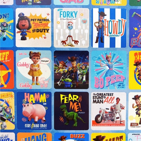 玩具總動員貼紙 格子貼紙 /一大張入(定25) 胡迪 巴斯光年 叉奇 迪士尼 Disney TOY STORY 正版授權 MIT製