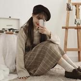 背帶裙秋季新款韓版學生百搭寬鬆顯瘦背帶格子洋裝女a型中長款背心裙