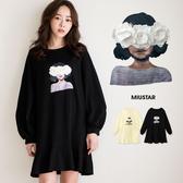 現貨-MIUSTAR 甜美羅紋領花朵女孩貼布魚尾棉質洋裝(共2色)【NE3985WP】
