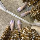 復古方頭高跟單鞋紫色浪漫豬蹄分趾軟底平底...
