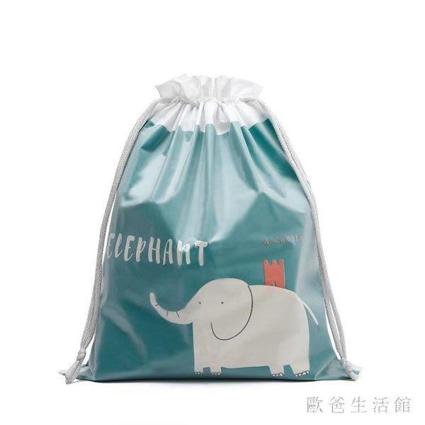 束口袋 旅行收納袋 簡約小清新防水抽繩袋家用多功能整理袋 KB8583【歐爸生活館】