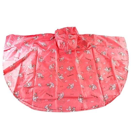 小禮堂 美樂蒂 兒童披風式雨衣 附收納袋 斗篷雨衣 兒童雨衣 130-145cm (L 桃) 5713304-52099