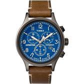 TIMEX 天美時 藍面碼表計時三眼咖啡皮帶錶 42mm 冷光夜光面板 TXTW4B09000 公司貨 | 高雄名人鐘錶