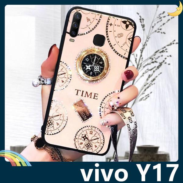 vivo Y17 時光玻璃保護套 電鍍鑲鑽 潮牌TIME 水鑽 指環支架 全包款 手機套 手機殼