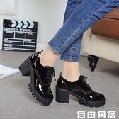 2020春季新款英倫風少女小皮鞋女士鞋子中跟粗高跟鞋增高學生單鞋  自由角落