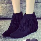 真皮短靴-純色百搭時尚熱銷流蘇女靴子2色72a25[巴黎精品]