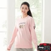 【JEEP】女裝北極熊圖騰長袖大學T恤-粉紅