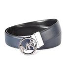 Michael Kors MK鏤空圓牌防刮皮革雙面用皮帶(藍黑)618150-1