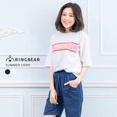 五分袖上衣--韓版個性撞色英文字母印圖五分袖T恤上衣(黑.白XL-3L)-T247眼圈熊中大尺碼