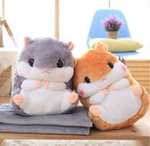 現貨 可愛倉鼠兩用抱枕毯 毛毯 絨毛靠枕 娃娃 黃金鼠