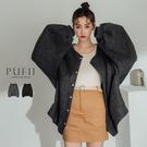 PUFII-外套 飛鼠袖排釦毛呢外套-1126 現+預 冬【CP17616】