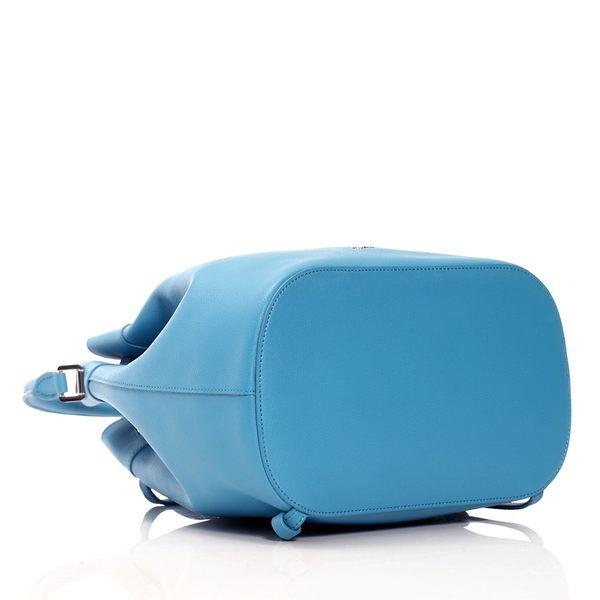 【雪曼國際精品】agnes b. 經典 牛皮藍色小束口後背水桶兩用包Mini!超可愛!─全新現貨
