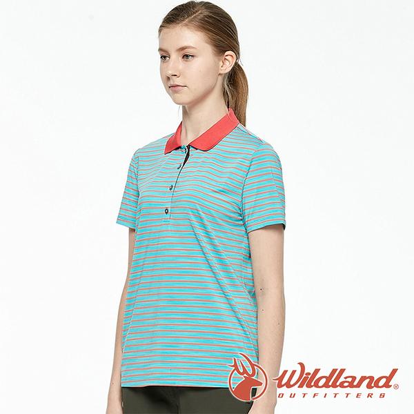 【wildland 荒野】女 彈性條紋YOKE上衣『湖水綠』0A81609 戶外 休閒 運動 露營 登山 騎車