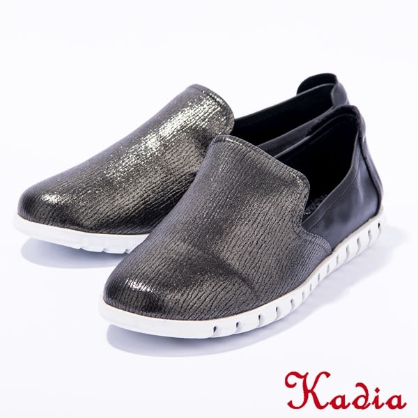 2016秋冬新品上市Kadia.壓紋拼接牛皮休閒鞋(黑色)