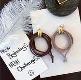 [24hr-快速出貨]  髮束 日韓版 髮飾 多層 打結繩 仿皮 珍珠 髮繩 髮圈 綁繩 素色