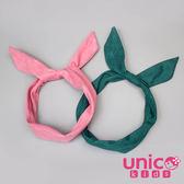 UNICO 兒童 韓風小大人素色麂皮絨可調整軟鋼絲髮帶/髮飾