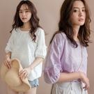 現貨-MIUSTAR 蕾絲刺繡洞洞鏤空澎袖棉麻上衣(共2色)【NH1468】