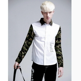 迷彩襯衫-白襯衫修身純棉質歐洲休閒男長袖上衣71av10【時尚巴黎】