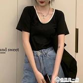 短袖T恤女春裝2021年新款韓版簡約百搭學生小個子寬鬆圓領上衣潮 幸福第一站