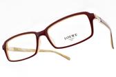 LOEWE 光學眼鏡 VLW862K 9CX (紅-象牙) 經典LOGO方框款 # 金橘眼鏡