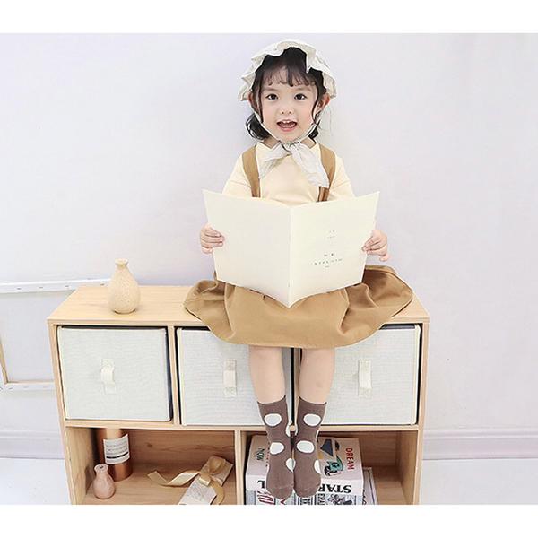 韓版男女童襪。ROUROU童裝。韓版男女童大中小童大圓點童襪短襪5雙入組 0355-244