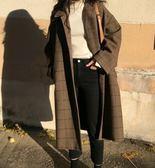 EASON SHOP(GU4760)英倫格紋翻領格子厚毛呢夾棉長版長袖大衣外套女長款繭型風衣OVERSIZE韓版寬鬆