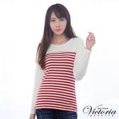 Victoria 休閒條紋拼接TEE-紅白條-Y2503215