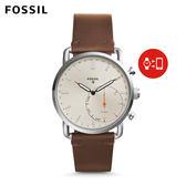 FOSSIL Commuter 代言款 淺棕色皮革指針式智慧手錶 男 FTW1150