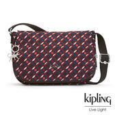 Kipling 紅藍幾何印花側背包-中