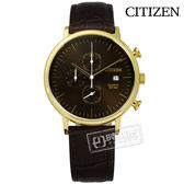 CITIZEN 星辰表 / AN3612-09X / 三眼計時 星期顯示 礦石強化玻璃 日本機芯 壓紋真皮手錶 咖啡x金框 41mm